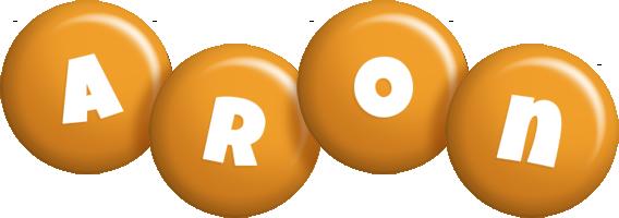 Aron candy-orange logo