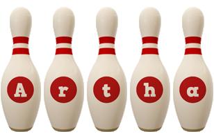 Artha bowling-pin logo