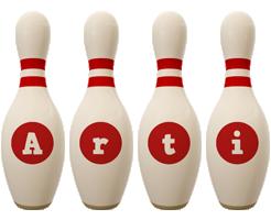 Arti bowling-pin logo