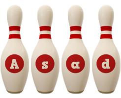Asad bowling-pin logo