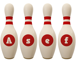 Asef bowling-pin logo