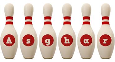 Asghar bowling-pin logo