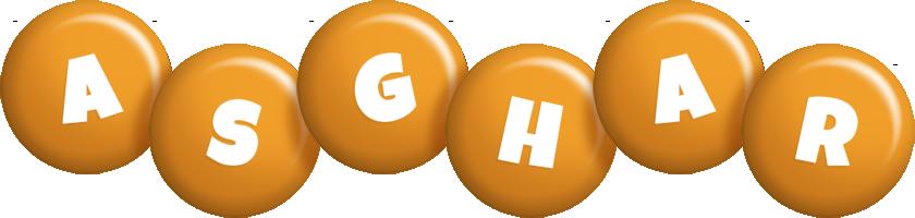 Asghar candy-orange logo