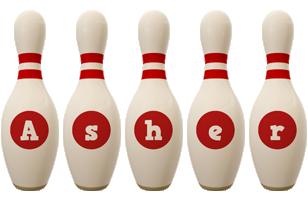 Asher bowling-pin logo