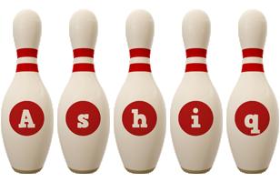Ashiq bowling-pin logo
