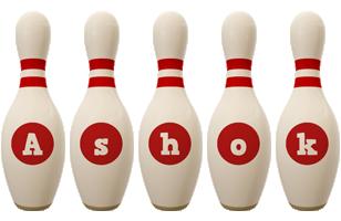 Ashok bowling-pin logo