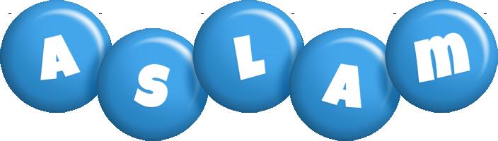 Aslam candy-blue logo