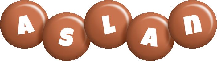 Aslan candy-brown logo