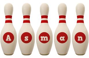 Asman bowling-pin logo