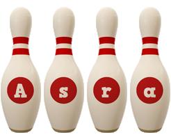 Asra bowling-pin logo