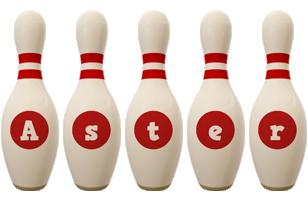 Aster bowling-pin logo