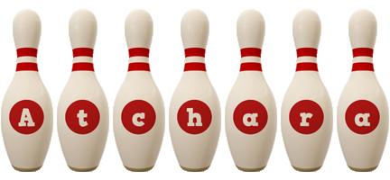 Atchara bowling-pin logo