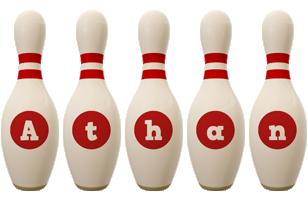 Athan bowling-pin logo