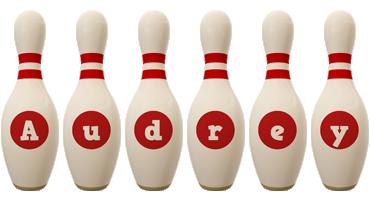 Audrey bowling-pin logo