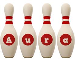 Aura bowling-pin logo