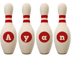 Ayan bowling-pin logo