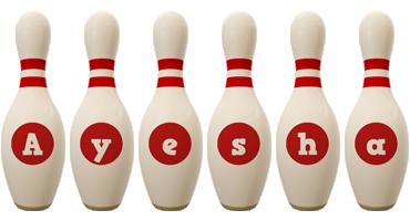 Ayesha bowling-pin logo