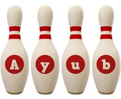 Ayub bowling-pin logo