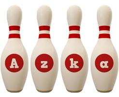 Azka bowling-pin logo