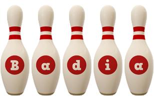 Badia bowling-pin logo