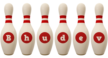 Bhudev bowling-pin logo