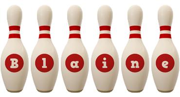 Blaine bowling-pin logo