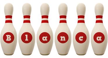 Blanca bowling-pin logo