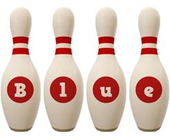 Blue bowling-pin logo