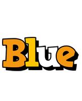 Blue cartoon logo