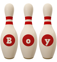 Boy bowling-pin logo