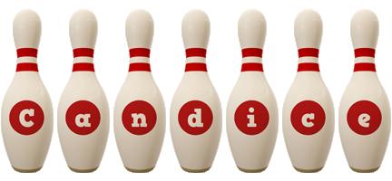 Candice bowling-pin logo