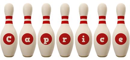 Caprice bowling-pin logo