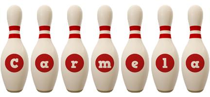 Carmela bowling-pin logo
