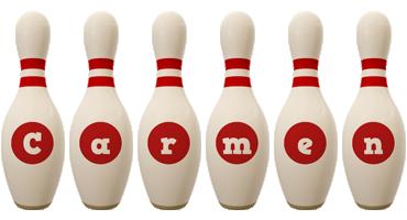 Carmen bowling-pin logo