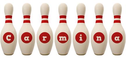 Carmina bowling-pin logo