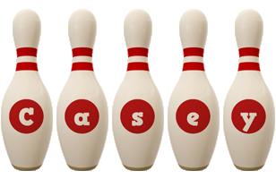 Casey bowling-pin logo