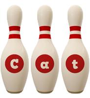 Cat bowling-pin logo