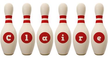 Claire bowling-pin logo