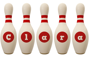 Clara bowling-pin logo