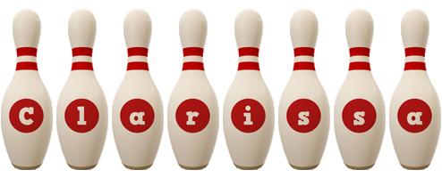 Clarissa bowling-pin logo