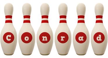 Conrad bowling-pin logo