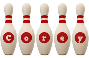 Corey bowling-pin logo