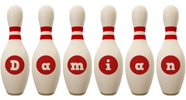 Damian bowling-pin logo