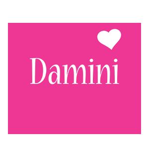 Damini love-heart logo