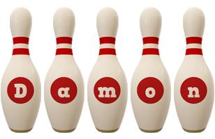 Damon bowling-pin logo
