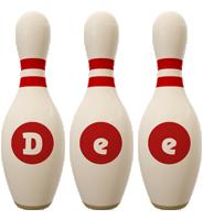 Dee bowling-pin logo