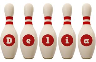 Delia bowling-pin logo