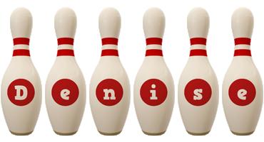 Denise bowling-pin logo