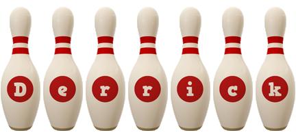Derrick bowling-pin logo