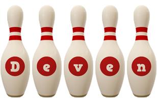 Deven bowling-pin logo
